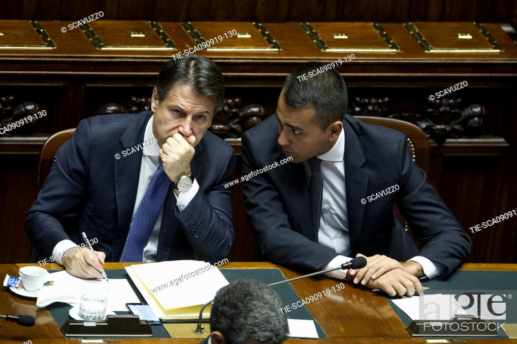 Stock Photo: Italian Premier Giuseppe Conte and Foreign Affairs Minister Luigi Di Maio during his address to the House of Representatives ahead of a confidence vote, in Rome.