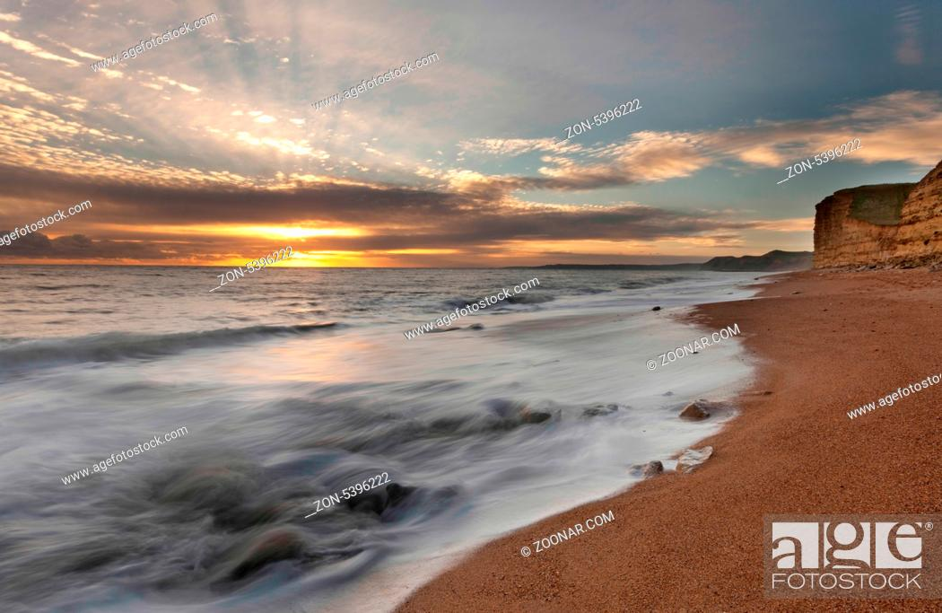Stock Photo: Famous Jurassic Coast Cliffs at Burton Bradstock and West Bay Dorset England.