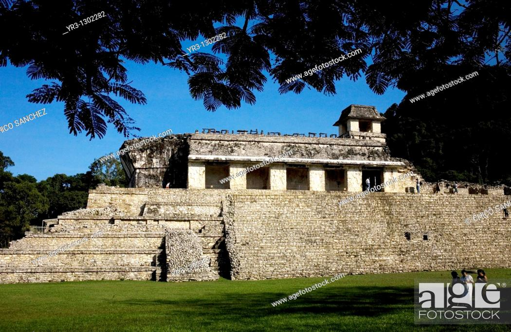 Stock Photo: The Palace in the ancient Mayan city of Palenque, Chiapas, Mexico, February 21, 2010.