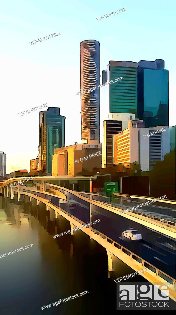 Stock Photo: cartoon filter view of motorway by the Brisbane River and Brisbane city skyline.