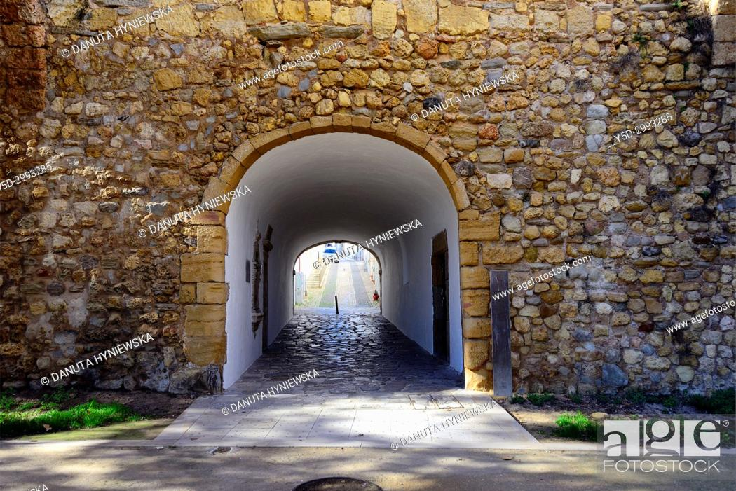 Stock Photo: fortified walls surrounding old town of Lagos, here San Goncalo gate - Porta de Sao Goncalo connectiong old town with seaside, beaches and river, Lagos.