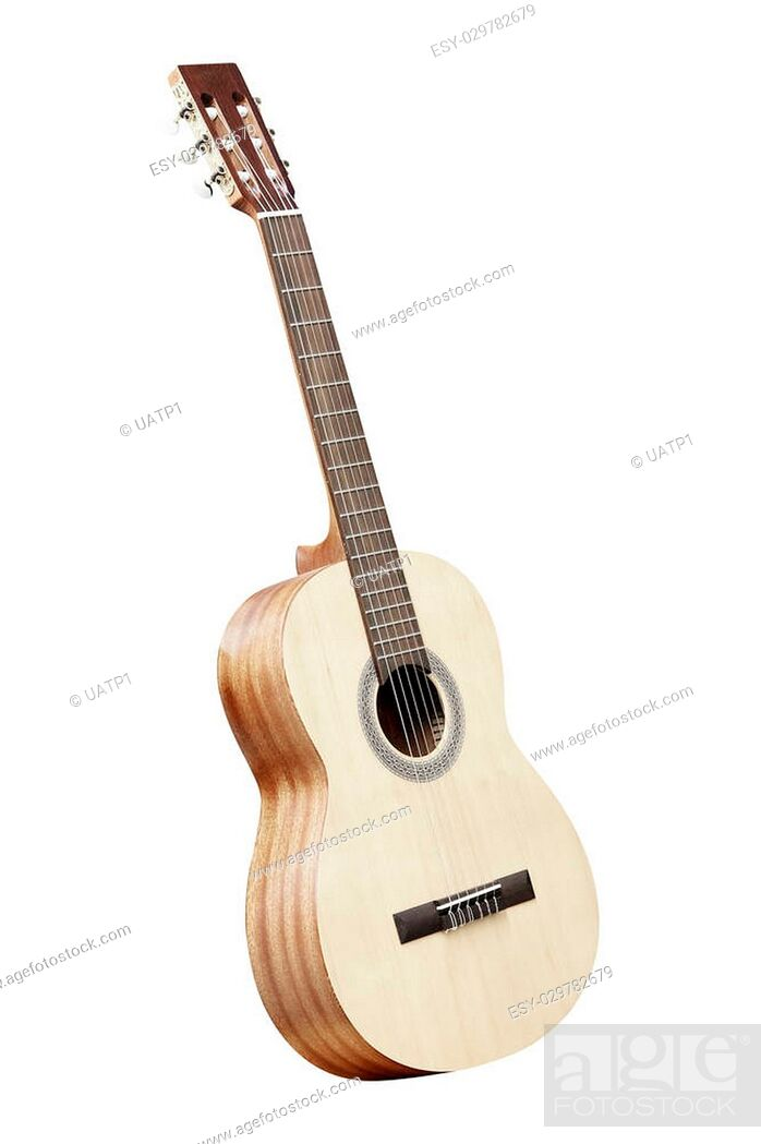 Stock Photo: The image of acoustic guitar isolated under the white background.