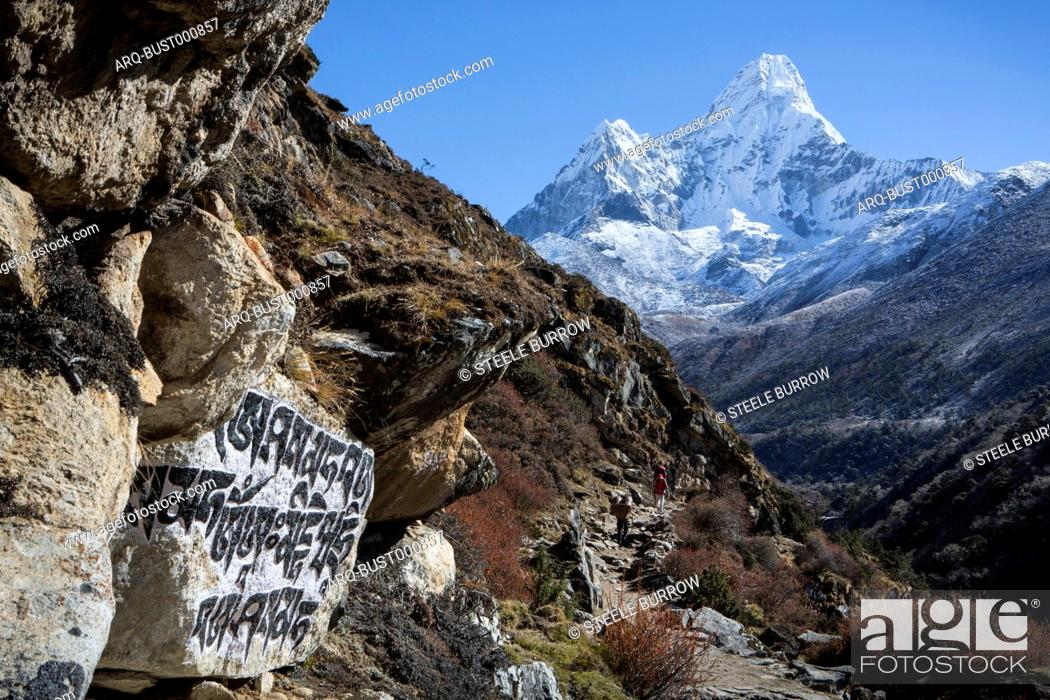 Imagen: Stone carvings seen in a rock alongside the trail to Everest Base Camp, seen with the peak of Ama Dablam in the background, Khumbu, Nepal.