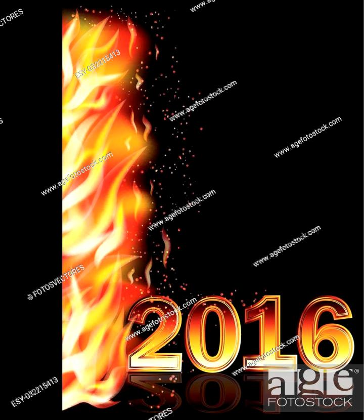 Stock Vector: Fire flame new 2016 year banner, vector illustration.