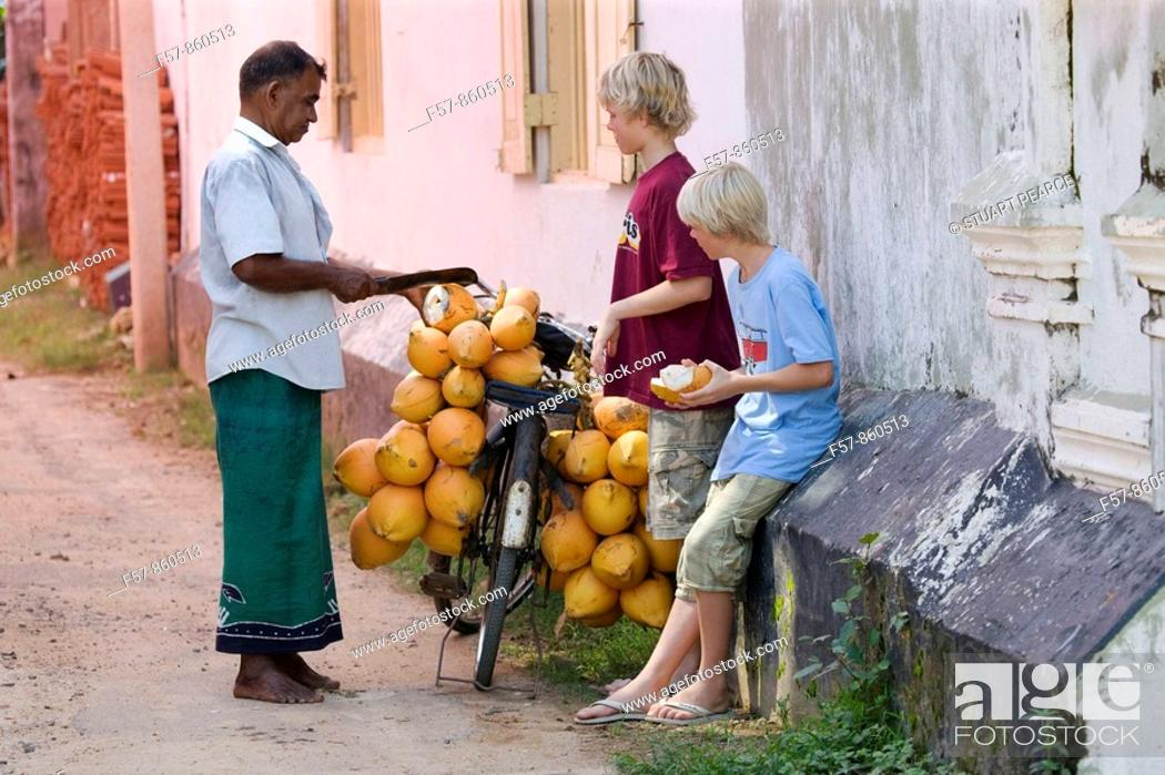 Stock Photo: Coconut seller, Galle, Sri Lanka.