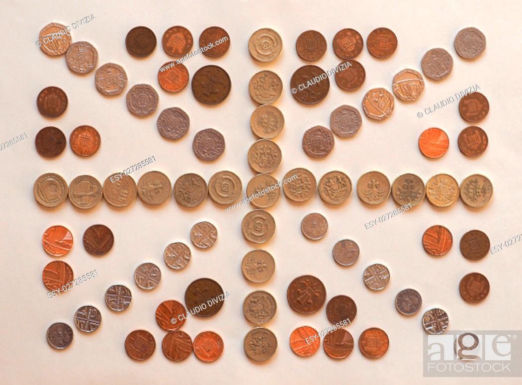 Stock Photo: national flag of the United Kingdom (UK) aka Union Jack made with British Pound coins.