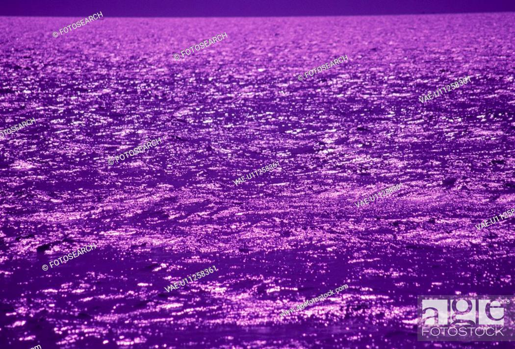 Stock Photo: The Sea Surface Which Shines Purple.