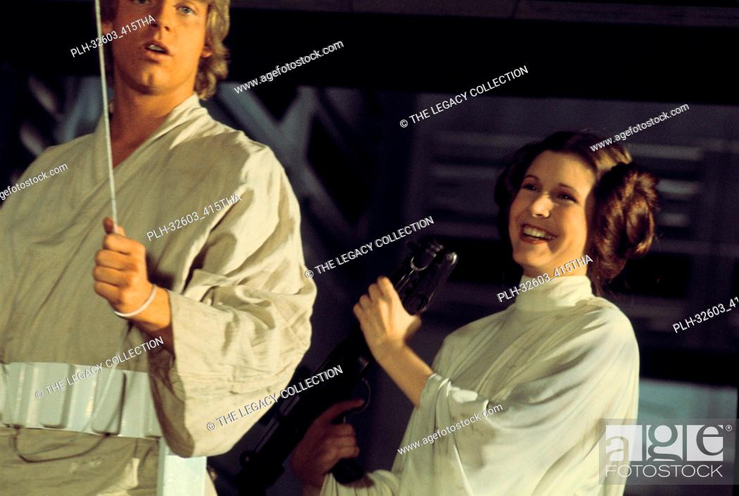 """Stock Photo: Mark Hamill and Carrie Fisher on set in""""""""Star Wars Episode IV: A New Hope"""""""" (1977)."""