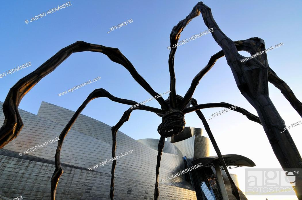 Stock Photo: Spider.Guggenheim Museum by Frank O. Gehry.Bilbao city.Bizkaia province.Euskadi.País Vasco.Spain.