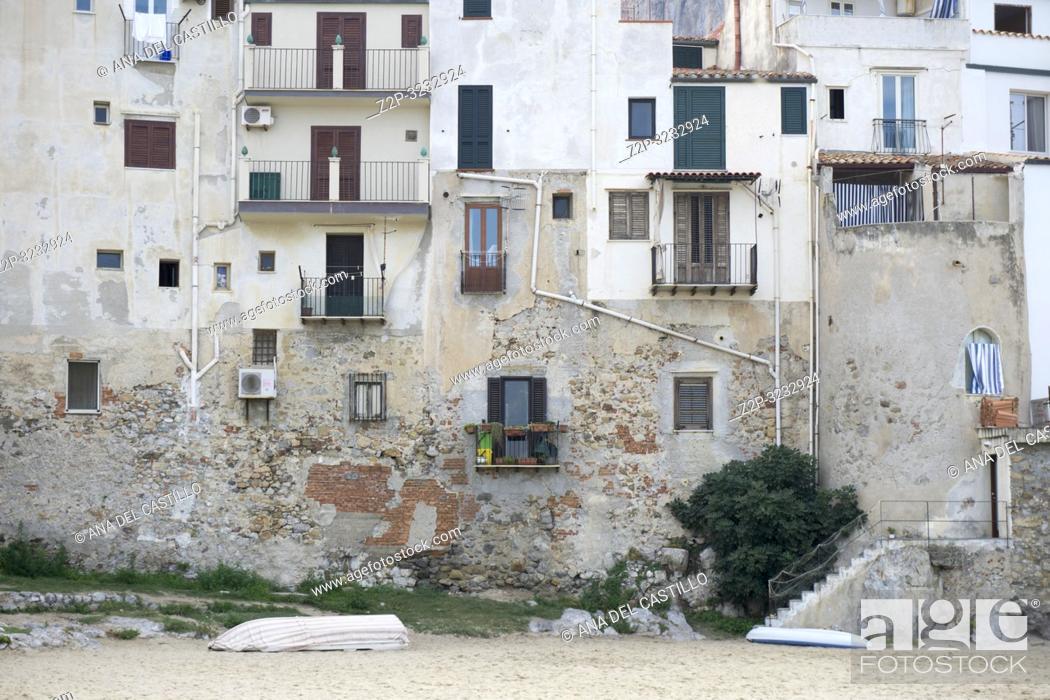 Stock Photo: Cefalu old port Sicily village on the sea Italy.
