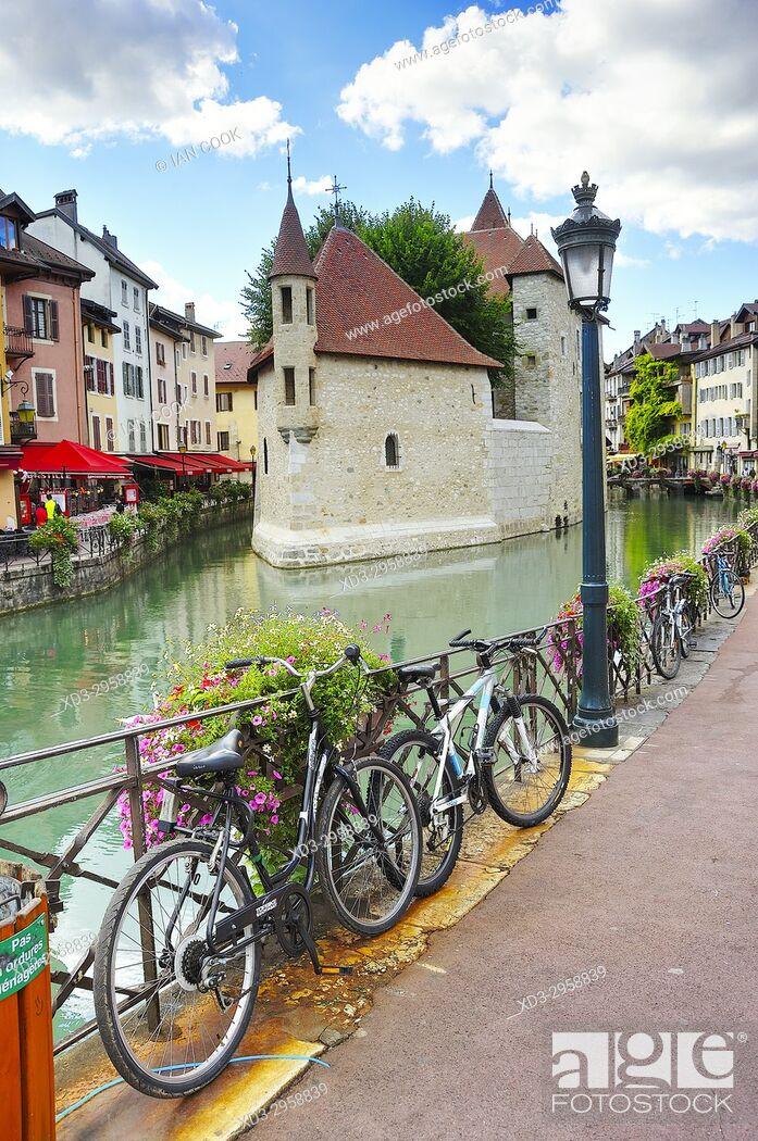 Stock Photo: Palais de lâ. . Ile, old town, Annecy, Haute-Savoie department, Auvergne-Rhône-Alpes, France.