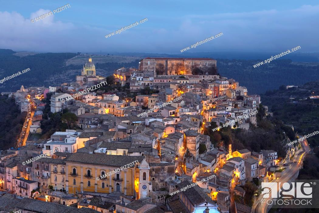 Stock Photo: Cityscape of Ragusa Ibla at dusk, Sicily, Italy.