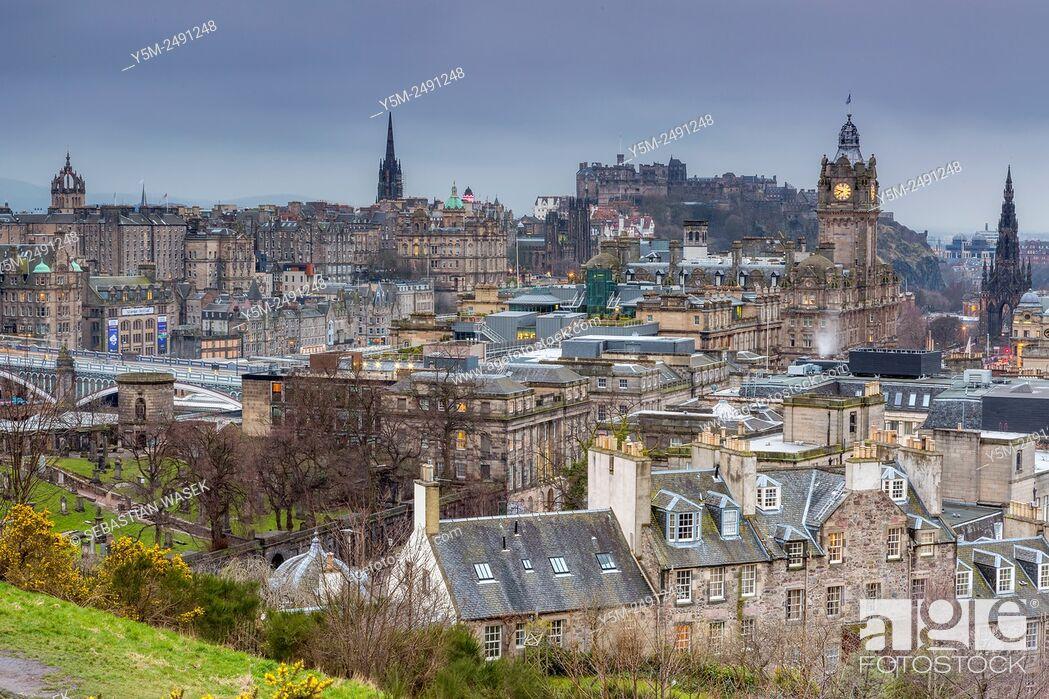 Stock Photo: A view from Calton Hill over Edinburgh, City of Edinburgh, Scotland, United Kingdom, Europe.