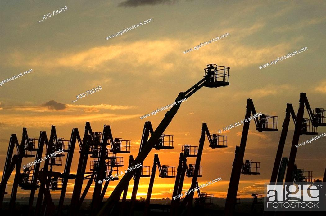 Stock Photo: Cranes, Madrid province, Spain.