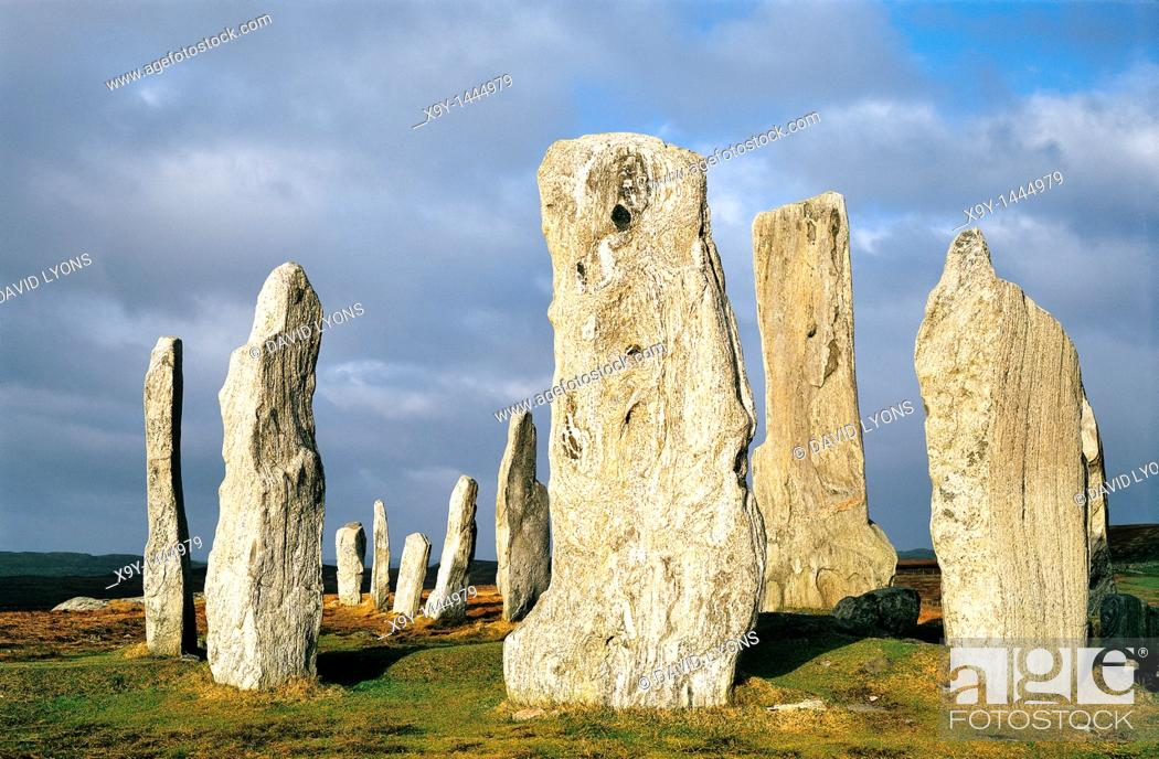 Stock Photo: Callanish prehistoric stone circle is over 5000 years old  Scottish Hebrides island of Lewis  Central stones around burial cist.