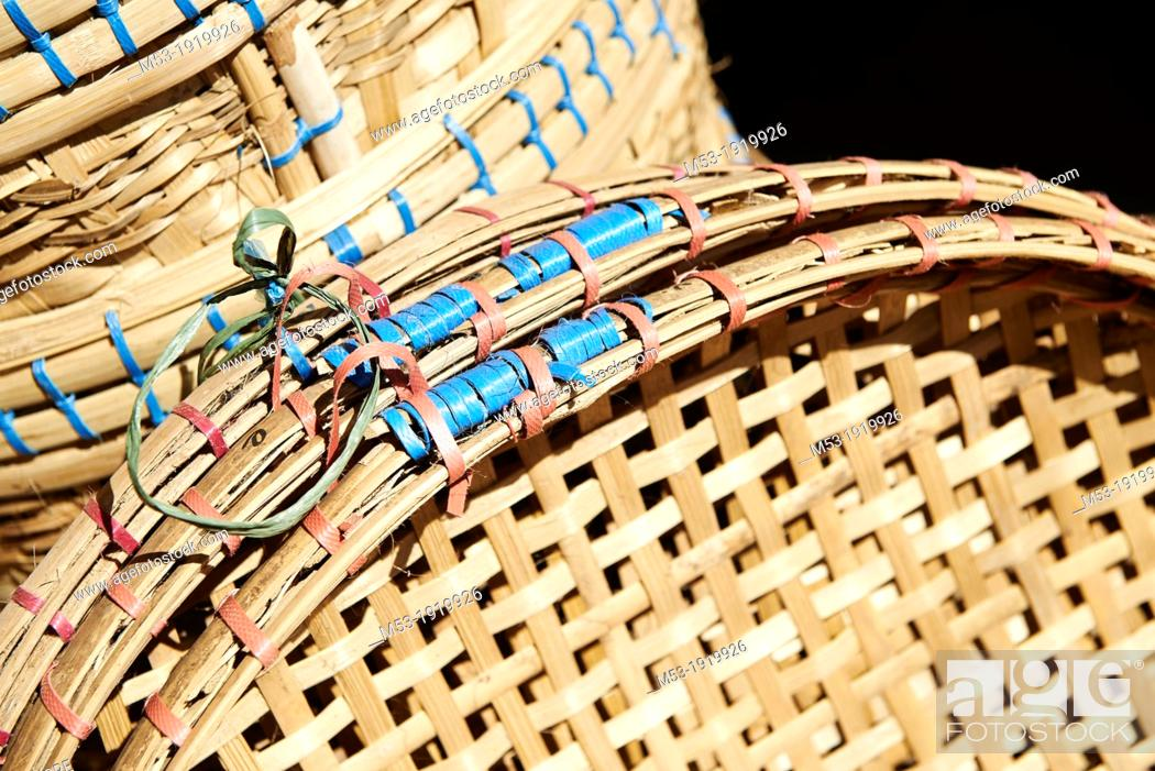 Stock Photo: Bamboo baskets on sale at Kyauktan market  Myanmar.