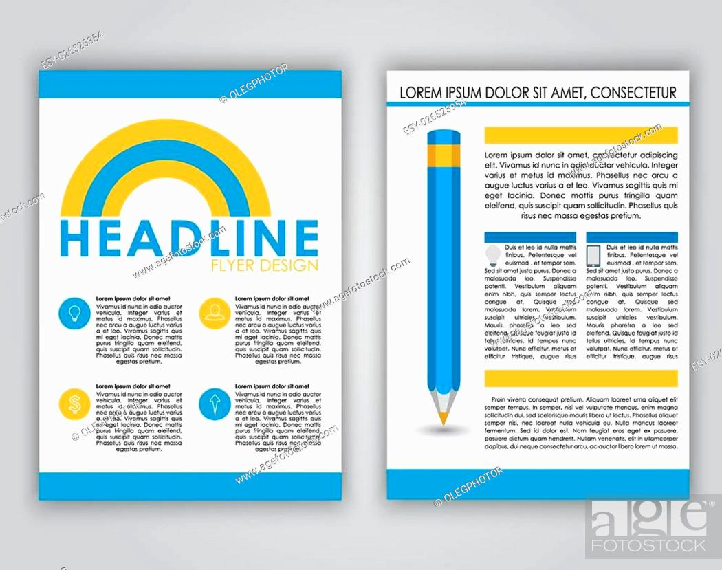 Stock Vector: Design flyers, brochures, covers for advertising or web in a contemporary style. Placed on a white background icons, text and pencil. Business theme.