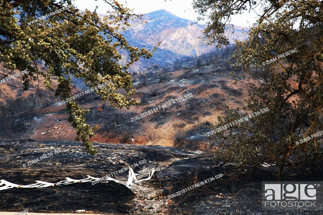 Stock Photo: Nov 17, 2018 - Agoura Hills, California, U.S. - Some Ranchos were destroyed by Woolsey Fire. The fire has burned 91, 572 acres.