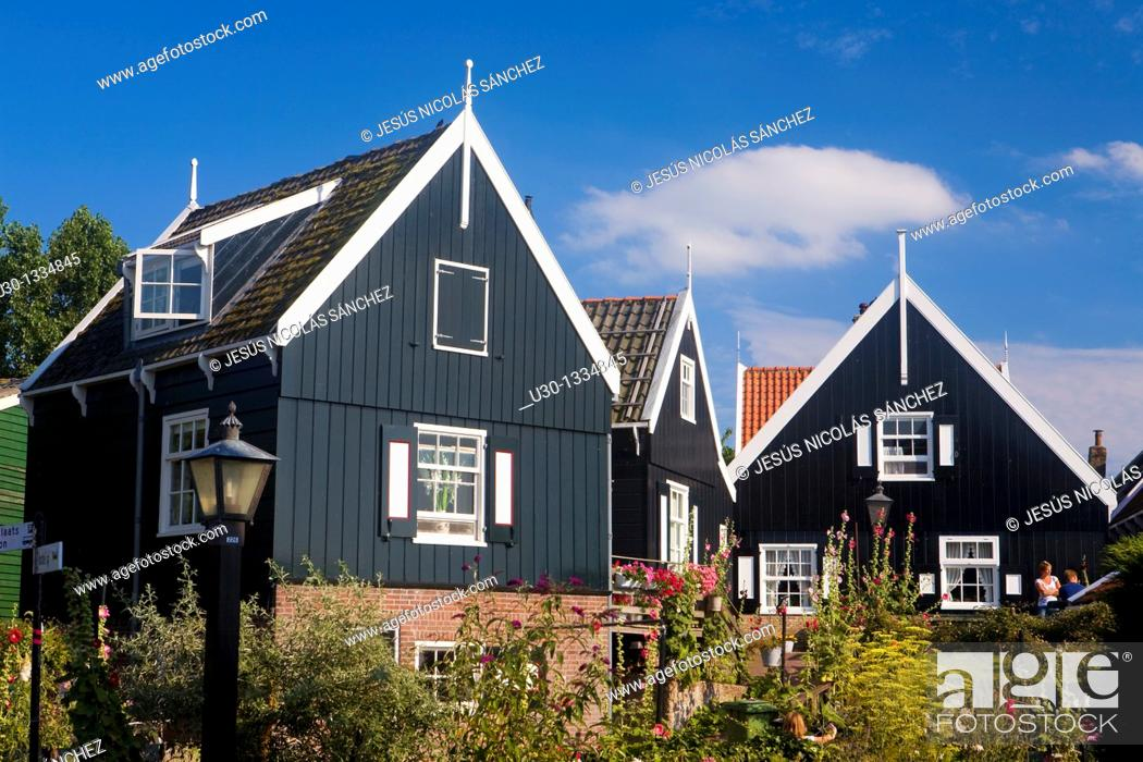 Stock Photo: Typical dutch houses in the small town of Marken, in the province of North Holland  Holland.