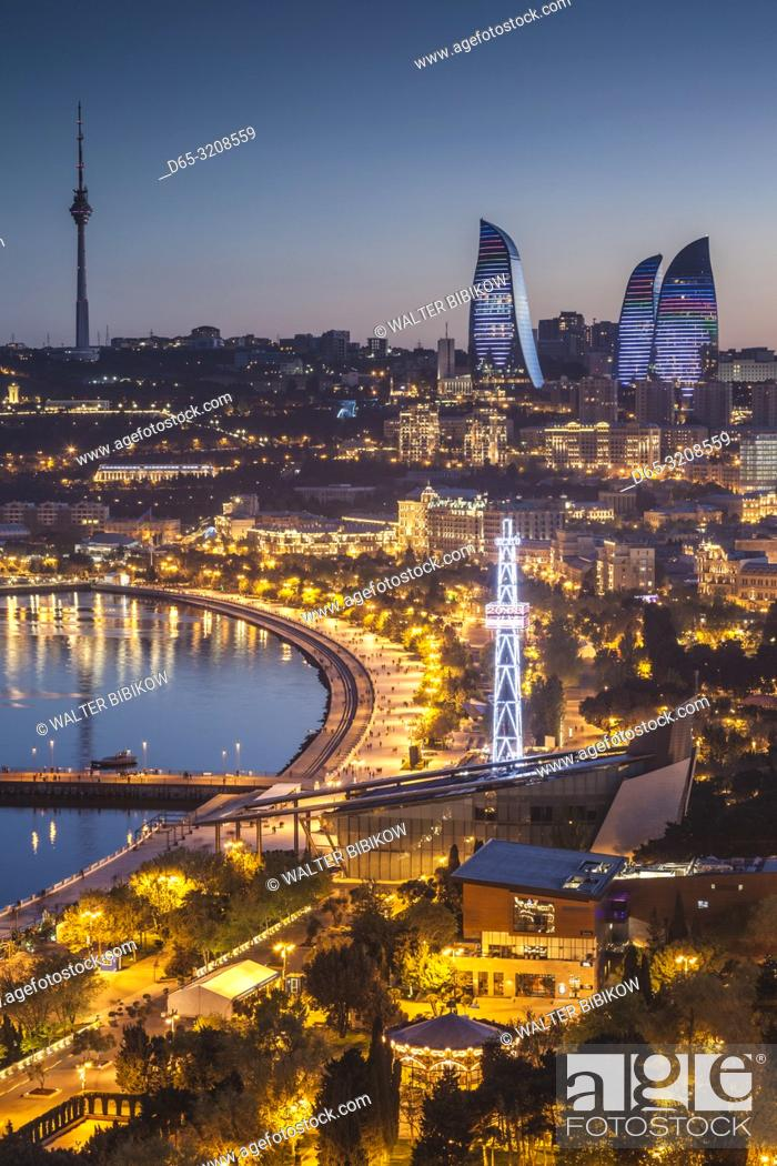 Stock Photo: Azerbaijan, Baku, high angle city skyline, from the north, dusk.