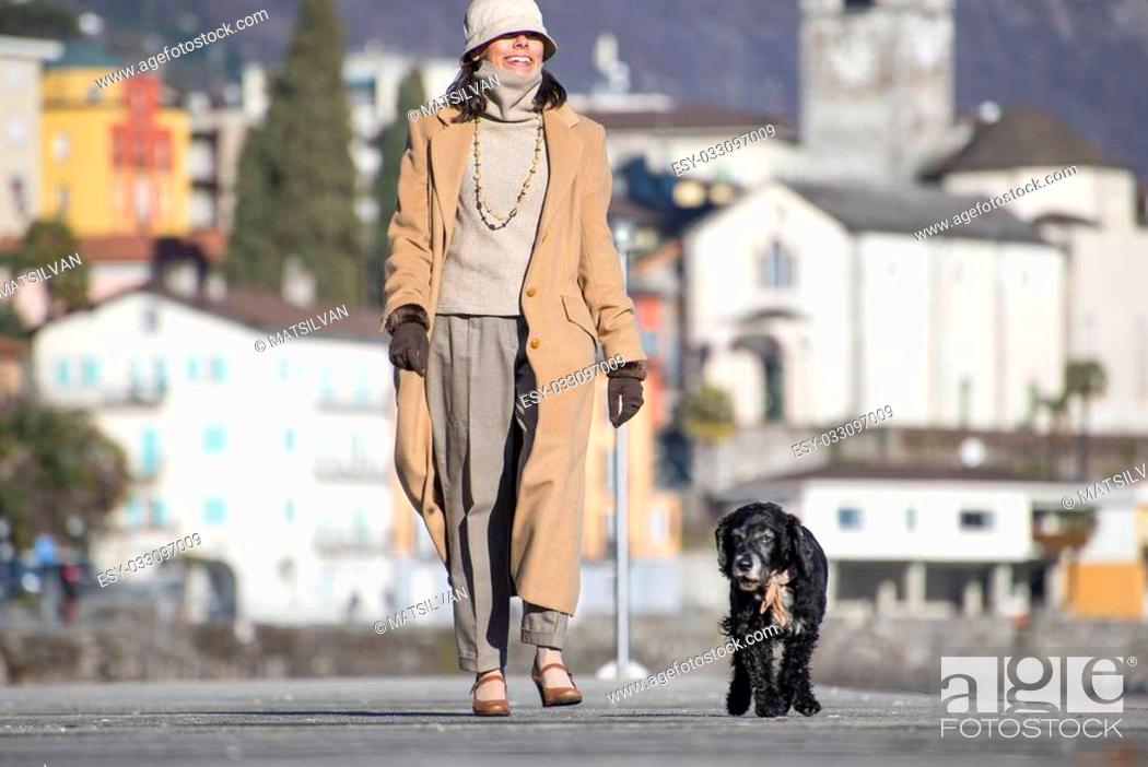 Stock Photo: Elegant woman walking on the street with her dog and with a village in background.