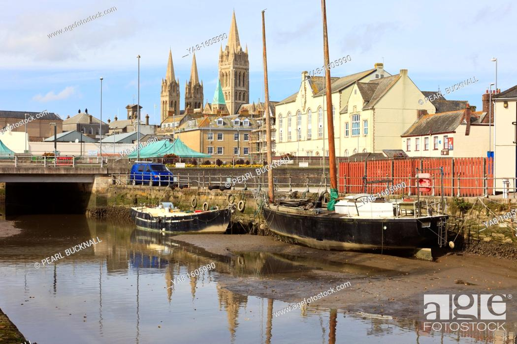 Stock Photo: Truro, Cornwall, England, UK, Great Britain, Europe  View across tidal River Truro towards the city and three spires of the Cathedral.