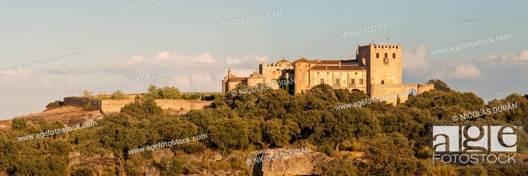Stock Photo: Piedrabuena castle. San Vicente de Alcántara.Province of Badajoz. Extremadura. Spain.
