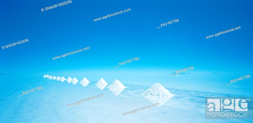 Stock Photo: The pyramids of salt on the salt flats of the Salar de Uyuni, Bolivia, South America.