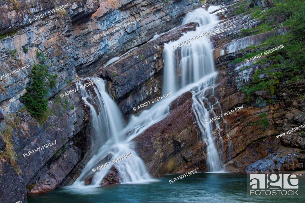 Stock Photo: Cameron Falls in Waterton Lakes National Park, Alberta, Canada.