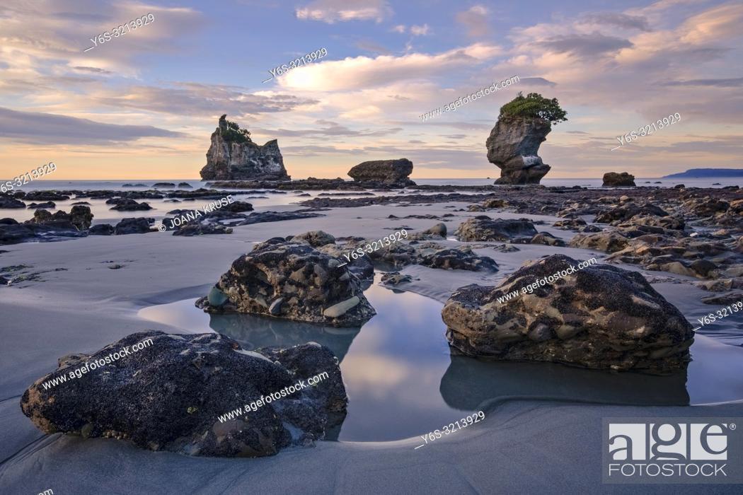 Stock Photo: Motukiekie Beach, Greymouth, South Island, New Zealand.