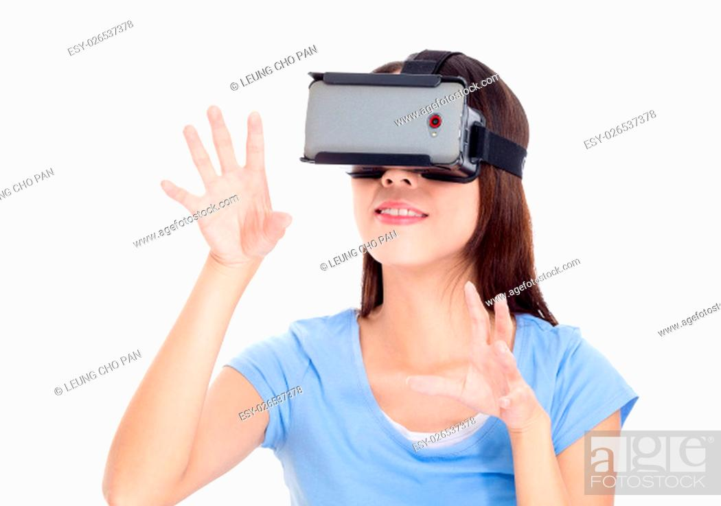 Stock Photo: Chinese woman watching with vr device.