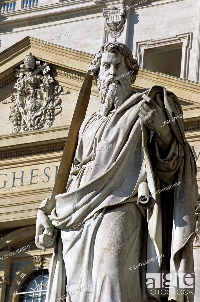 Stock Photo: Statue of Saint Paul, Saint Peter Square  Vatican City, Rome, Italy.