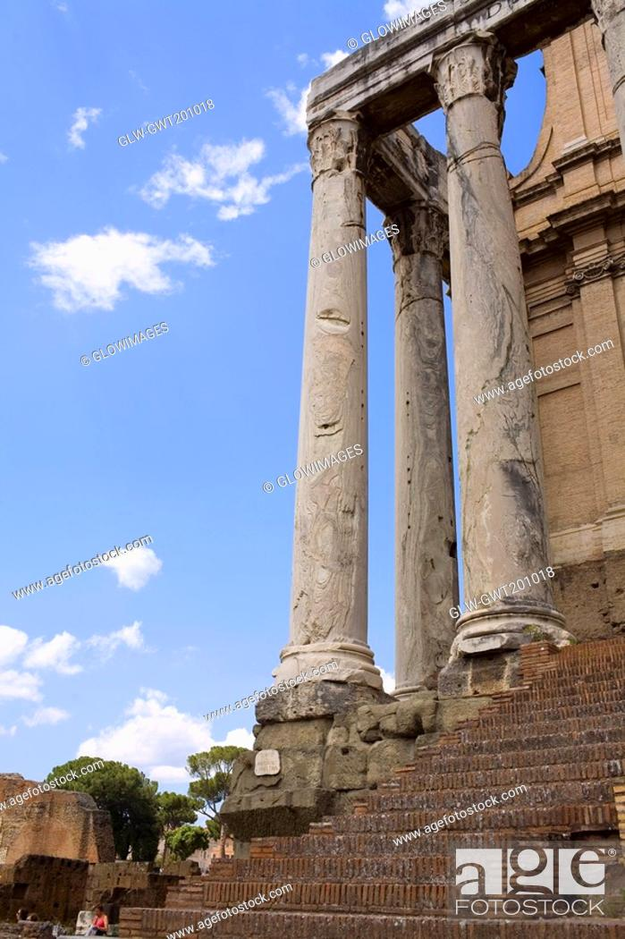 Stock Photo: Low angle view of old ruins of a building, Rome, Italy.