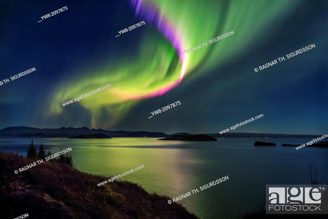 Stock Photo: Northern Lights over Thingvallavatn or Lake Thingvellir. Thingvellir National Park. Iceland. The park is a UNESCO World Heritage site.