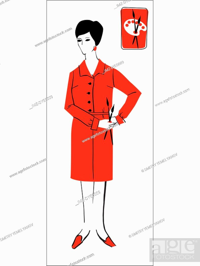 Stock Photo: A retro inspired illustration of a female artist.