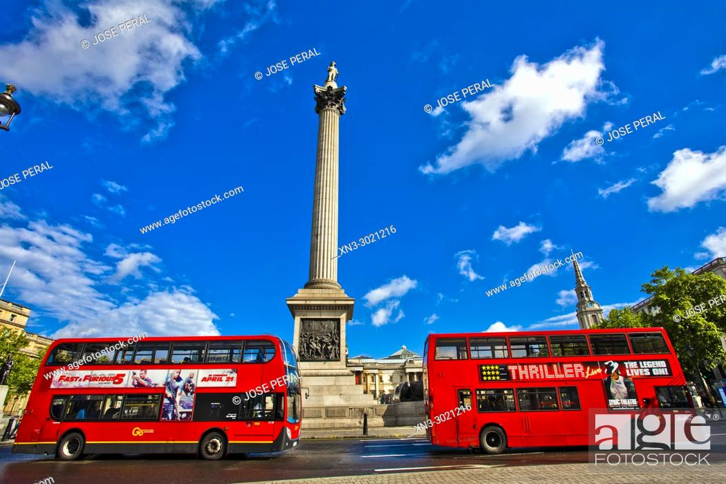 Stock Photo: London Bus, two typical red double-decker buses, Nelson's Column, Trafalgar Square, City of Westminster, London, England, UK, United Kingdom, Europe.