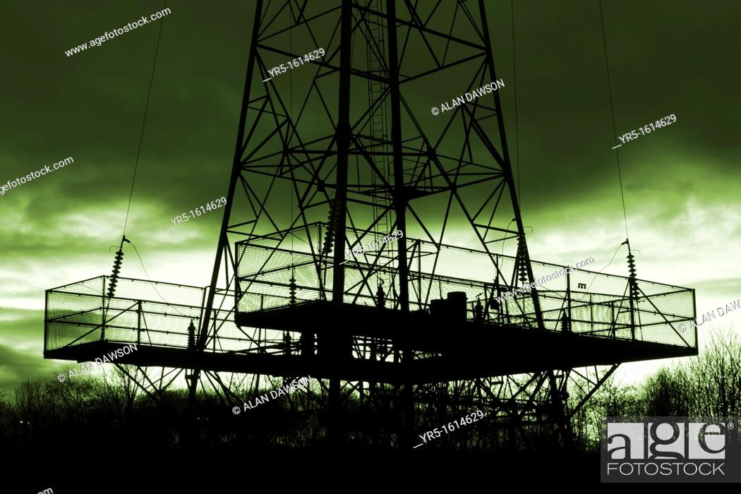 Stock Photo: Electricity pylon  Green/clean energy concept image.