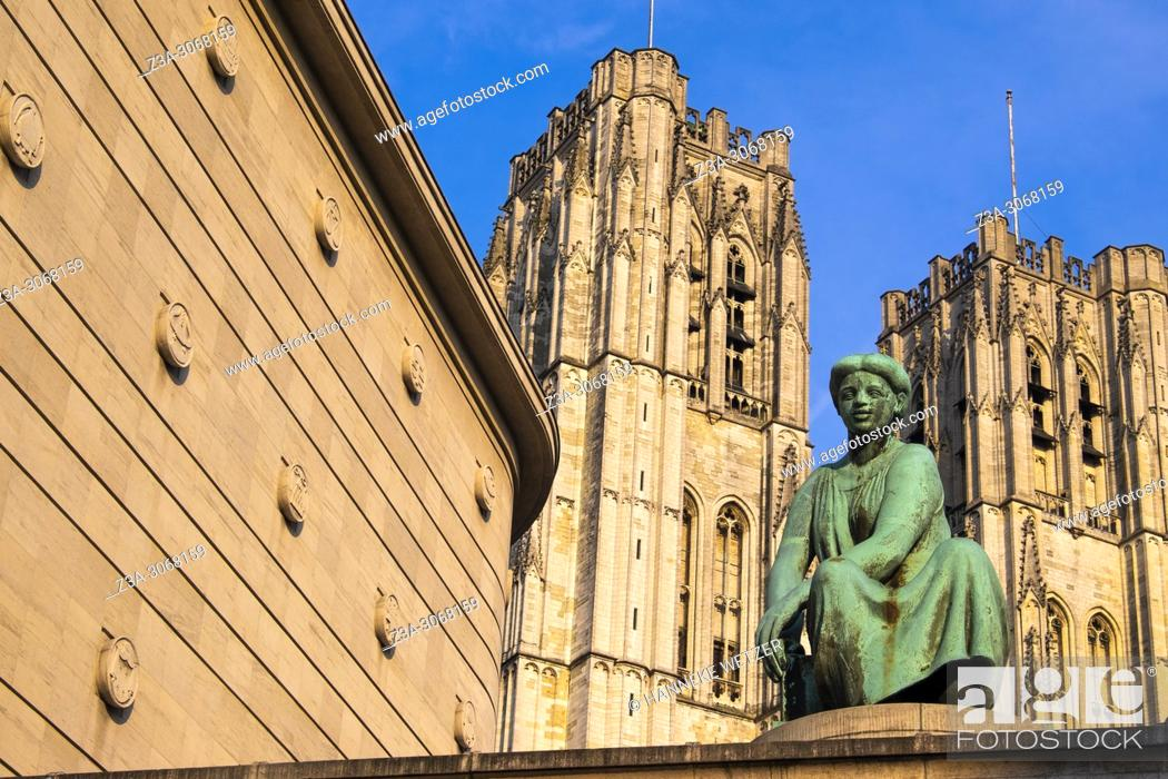 Stock Photo: Statue in front of the national bank and the cathedral of Brussels, Belgium, Europe.