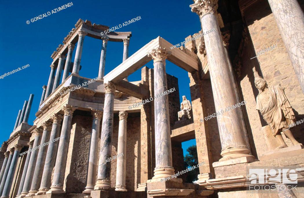Stock Photo: Roman theatre (Ist century CE). Mérida. Badajoz province. Spain.