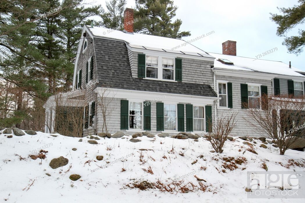 Stock Photo: Winter view of a home in Jaffrey Center, Jaffrey, New Hampshire, United States, North America. Editorial use only.