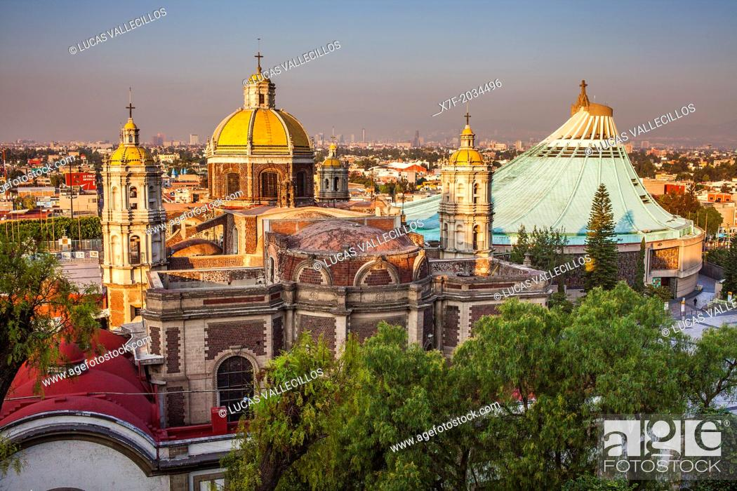 Stock Photo: Old and New Basilicas Our Lady of Guadalupe, from Gardens of Tepeyac, Mexico City, Mexico.