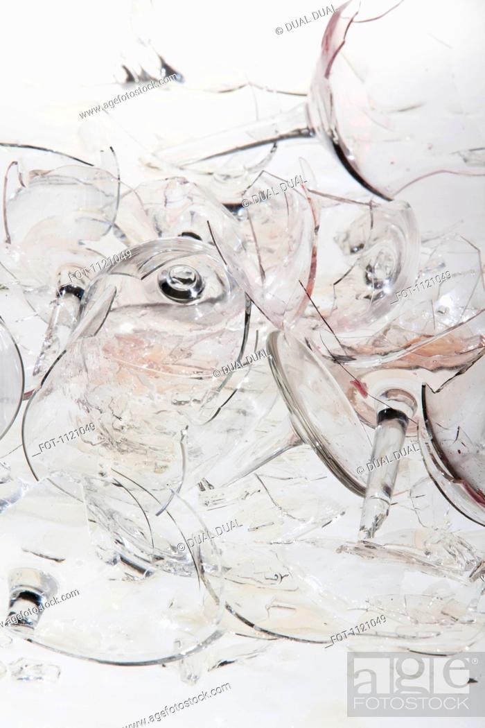Stock Photo: Shattered wine glasses.