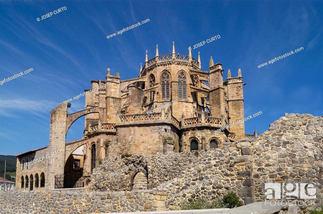 Stock Photo: Santa Maria de la Asuncion Cathedral, Castro Urdiales, Cantabria, Spain.