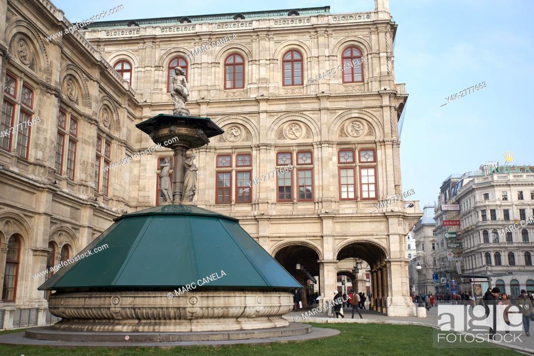 Stock Photo: Europe, Austria, Vienna, fountain in front of the Vienna Opera.