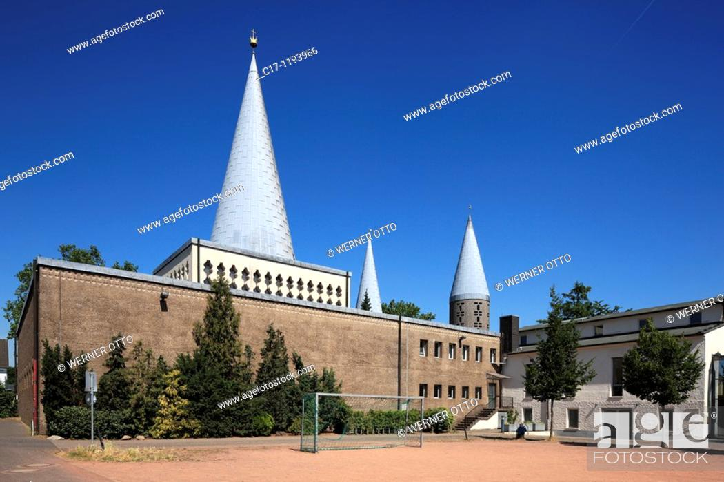 Stock Photo: Germany, Bergisch Gladbach, Bergisches Land, North Rhine-Westphalia, Bergisch Gladbach-Schildgen, parish church Herz Jesu, catholic church.