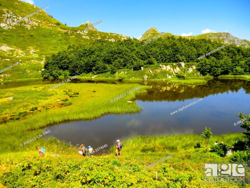 Stock Photo: Lago Nero, in the mountains of Abetone, Pistoia, Tuscany, Italy, in summer.