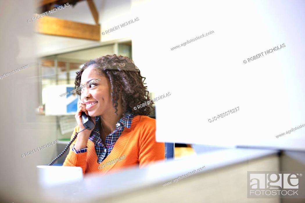 Stock Photo: Businesswoman talking on telephone.