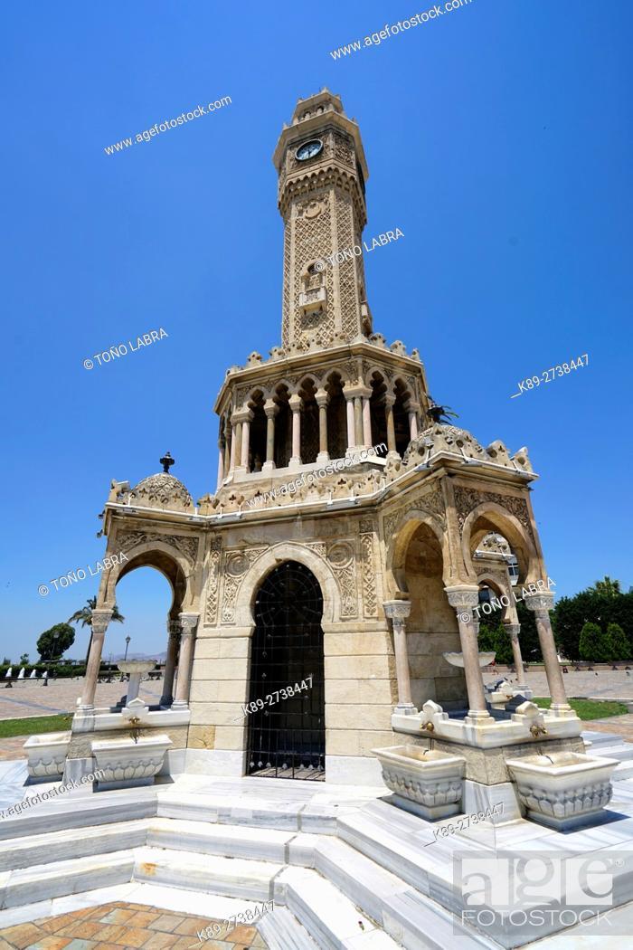 Stock Photo: Izmir Clock Tower (Izmir Saat Kulesi) by Levantine French architect Raymond Charles P�re. Izmir. Turkey.