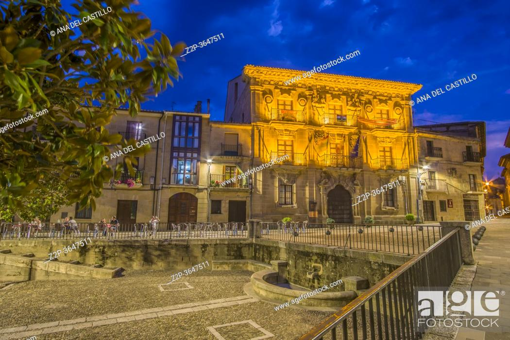 Stock Photo: Briones La Rioja Spain on July, 20, 2020: is part of the Most Beautiful Villages in Spain. The town hall palace by dusk.