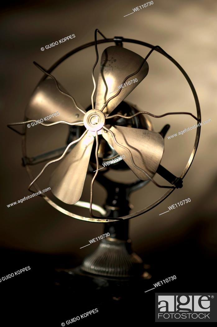 Stock Photo: Rotterdam, Netherlands. Vintage household or office fan exposed in the studio.